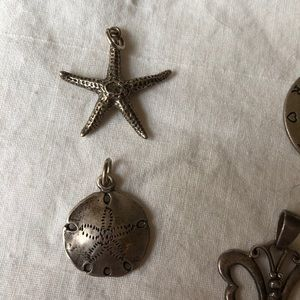 Sterling silver old charms star fish sand dollar